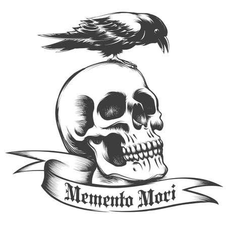 Illustration pour Hand drawn Crow sitting on human skull and ribbon with Latin wording Memento Mori. - image libre de droit
