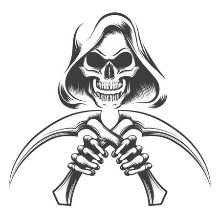 Illustration pour Skull in a hood with scythe knives in hands drawn in tattoo style. Vector illustration. - image libre de droit