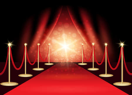 Illustration for Red carpet with award stage, abstract background. Vector Illustration. - Royalty Free Image