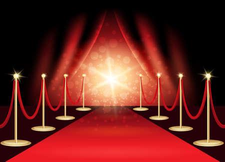 Ilustración de Red carpet with award stage, abstract background. Vector Illustration. - Imagen libre de derechos