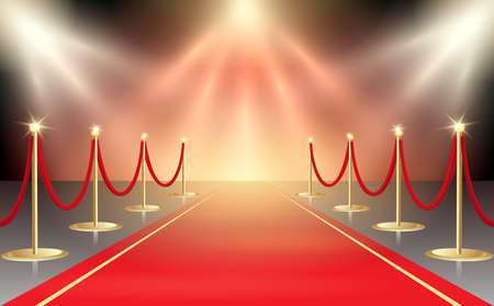 Illustration pour Vector illustration of red carpet in festive stage lights. Event design element. Vector illustration. - image libre de droit