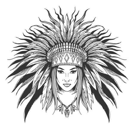 Illustration pour Hand drawn indian girl in feathers war bonnet. Vector illustration. - image libre de droit