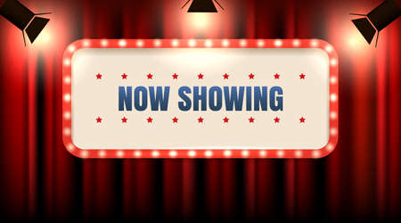 Illustration for Theater or cinema frame with light bulbs on red curtain with spot lights and Wording Now Showing. Vector illustration. - Royalty Free Image