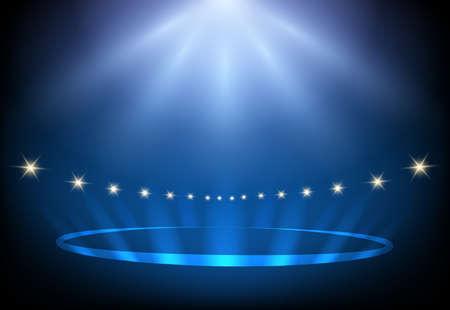 Illustration pour Blue Night performance stage lights. Vector illustration. - image libre de droit