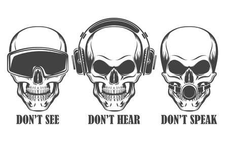 Illustration pour Human skulls in headphones, virtual reality headset and ball gag with wording Don't See, Hear, Speak. Vector illustration. - image libre de droit