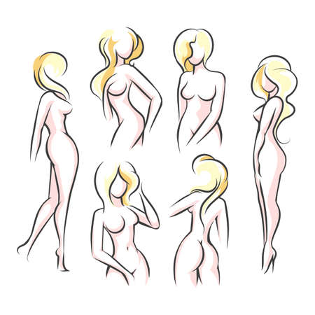 Ilustración de Six Female body outline silhouettes. Woman body beauty sketch, sexy figures. Vector Illustration. - Imagen libre de derechos