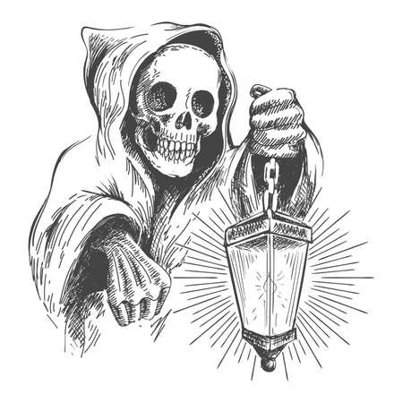 Illustration pour Skull in the hood with lantern in a hand. Vector vintage illustration - image libre de droit