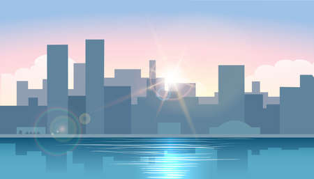 Illustration pour Early Morning cityscape. Sunrise in town on a water. Morning Urban cityscape. Vector illustration - image libre de droit
