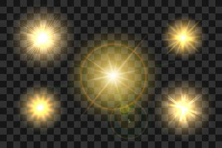 Illustration pour Set of Realistic Sun Burst with Glow light effect on transparent - image libre de droit