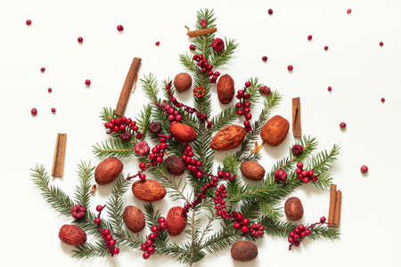 Foto de Red and pink toned nuts, berries and cinnamon with spruce branches on a white background. Decorations for a table or holiday. - Imagen libre de derechos