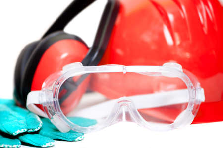 Various working equipment and safety construction gear. helmet, gloves, protection glasses and headphones, isolated on white background