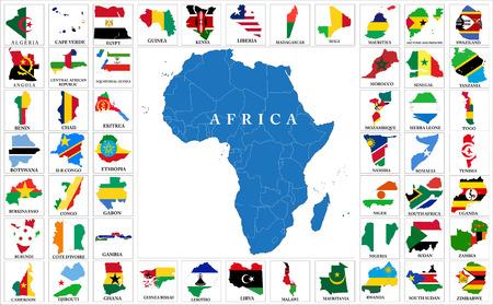Illustration pour Africa countries flag maps - image libre de droit