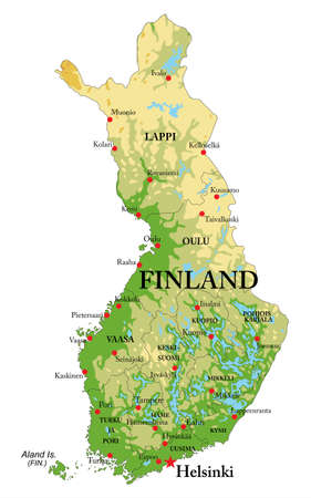 Illustration pour Highly detailed physical map of Finland, with all the relief forms, regions and big city. - image libre de droit