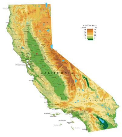 Illustration pour California physical map - image libre de droit
