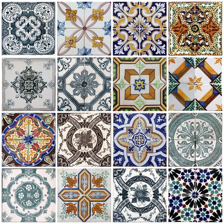 Traditional tiles from facades of old houses in Lisbon, Portugal