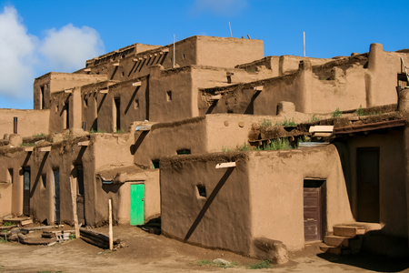 Taos, USA - July 27, 2008: Ranchos de Taos in New Mexico. Pueblo belonging to a Tiwa-speaking Native American tribe of Pueblo people.