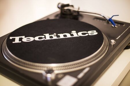 BELGRADE, SERBIA - MAY 14, 2014: Detail of the Technics audio record player. Technics is a brand name of the Panasonic Corporation founded at 1965 in Japan.