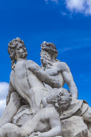 Statue La Seine et la Marne by Nicolas Coustou from 1712 at  Tuileries Garden in Paris, France