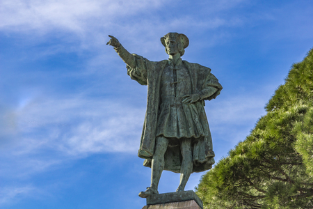 Detail from monument to Christopher Columbus in Rapallo, Italy