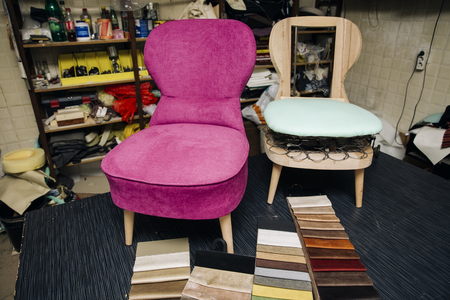 Photo pour View at chair repairing in the upholstery workshop - image libre de droit