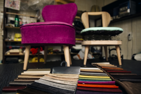 View at chair repairing in the upholstery workshop