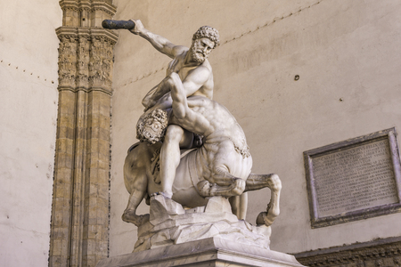 Statue Hercules and Nessus made in 1599 in Loggia dei Lanzi in Florence, Italy