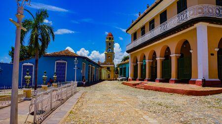 TRINIDAD, CUBA - MAY 25, 2014: Unidentified people on the street of Trinidad, Cuba. Trinidad has been a UNESCO World Heritage site since 1988.