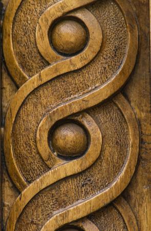 Foto de Close up view at wooden carving shapes - Imagen libre de derechos