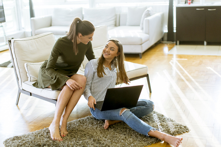 Photo pour Smiling young women sitting on sofa relaxing while browsing online shopping website - image libre de droit