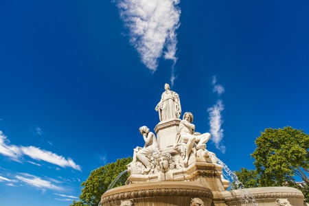 Detail of Pradier fountain at Esplanade Charles-de-Gaulle in Nimes, France