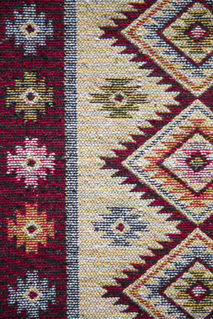 Photo pour Detail of the traditional Georgian handmade carpet with typical geometrical pattern - image libre de droit