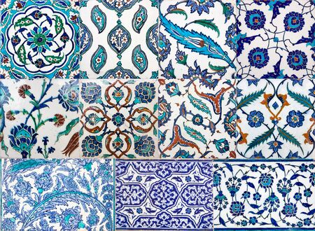 Photo for Ancient Ottoman handmade turkish tiles with floral patterns from Topkapi Palace in Istanbul, Turkey - Royalty Free Image