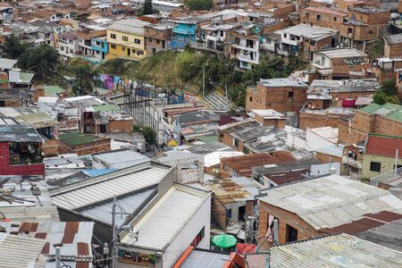 Photo for Over view at houses on the hills of Comuna 13 in Medellin, Columbia - Royalty Free Image
