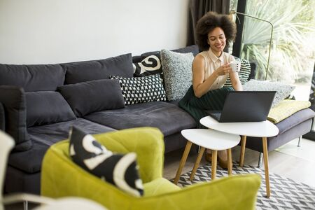 Photo pour Pretty young lady with curly hair work on the notebook while sit down on the couch at home - image libre de droit
