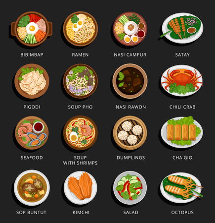 Ilustración de Big set of asian food. Vietnamese, Korean, Indonesian, Chinese and Japanese cuisine. Various food dishes. Vector flat illustration. Can be used for layout, advertising and web design. - Imagen libre de derechos