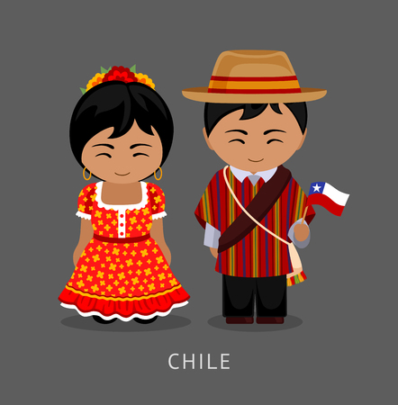 Illustration pour Chileans in national dress with a flag. Man and woman in traditional costume. Travel to Chile. People. Vector flat illustration. - image libre de droit