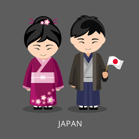 Japanese in national dress with a flag. Man and woman in traditional costume. Travel to Japan. People. Vector flat illustration.