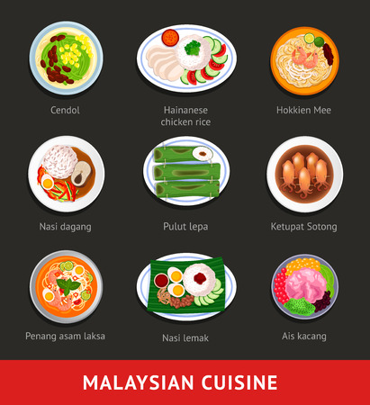 Ilustración de Big set of malaysian food. Asian traditional cuisine. Various national dishes. View from above. Vector flat illustration. - Imagen libre de derechos