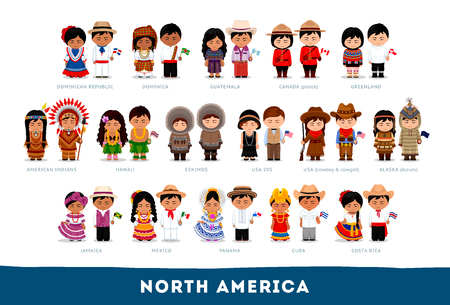 Illustration pour Americans in national clothes. North America. Set of cartoon characters in traditional costume. Cute people. Vector flat illustrations. - image libre de droit