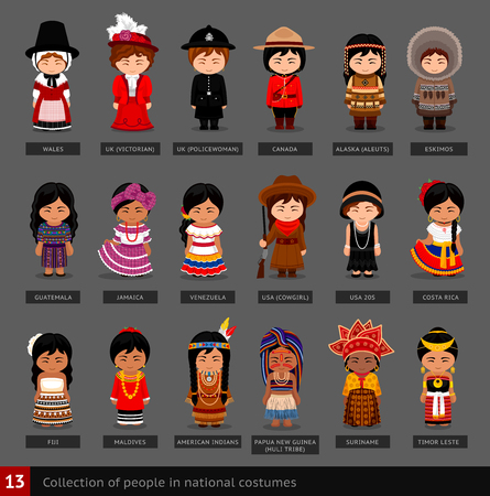 Illustration pour Girls in national costumes. Set of women dressed in traditional clothes. Collection of cute cartoon characters. People. Vector flat illustration. - image libre de droit