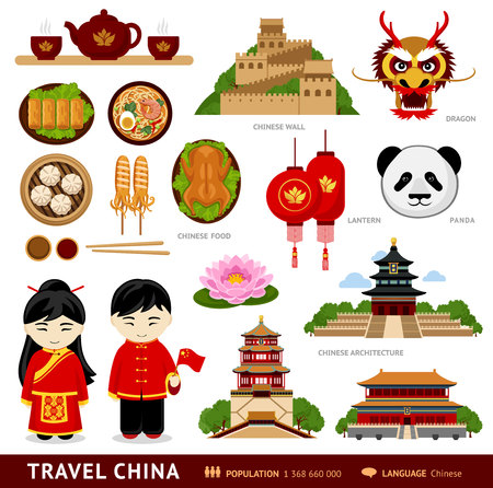 Illustration pour Travel to China. Set of icons of chinese architecture, food, traditional costumes, people, national cultural symbols. Collection of illustration to guide China. Vector flat illustration. - image libre de droit