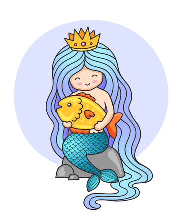 Cute little princess mermaid, sitting on a rock, holding big golden fish. Cartoon character. Siren with long blue hair. Vector illustration.