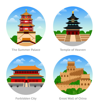 China Attractions. The Summer Palace, Temple of Heaven, Forbidden City, Great Wall. Set of round illustrations.