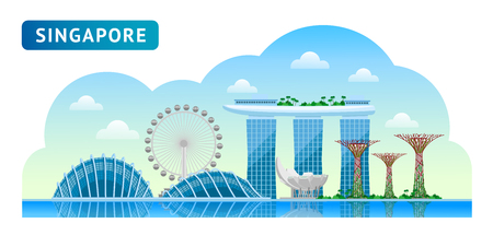 Ilustración de Travel to Singapore. Beautiful horizontal panoramic view. Morning, afternoon and day, sunrise and dawn. Vector flat illustration. - Imagen libre de derechos