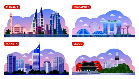 Illustration pour Singapore, Seoul, Jakarta, Manama. Bahrain, South Korea and Indonesia. Horizontal panoramic night view. Travel to Asia. Set of vector flat illustration - image libre de droit