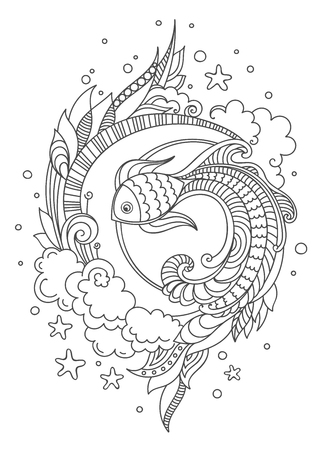 Illustration pour Hand drawn fish on white background. Doodle vector illustration for adult coloring book page, print, t-shirt, poster, card. - image libre de droit