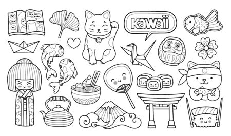 Illustration for Geisha, maneki-neko, sushi, sakura, origami. Japanese symbols. Cartoon outline illustrations for coloring book - Royalty Free Image