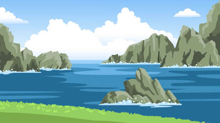 Illustration pour Sea landscape with mountains, rocks, cliffs, stones and blue sky with big fluffy clouds. Colorful panoramic scenery. Hand-drawn vector illustration. - image libre de droit