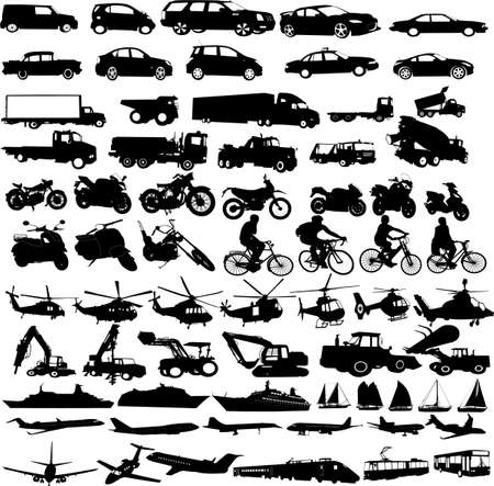 Photo for transportation silhouettes collection - vector - Royalty Free Image