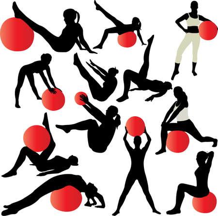 pilates women silhouettes